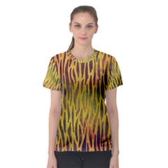 Colored Tiger Texture Background Women s Sport Mesh Tee