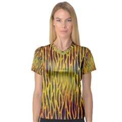 Colored Tiger Texture Background Women s V-Neck Sport Mesh Tee