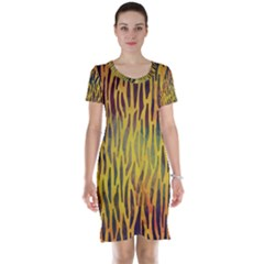 Colored Tiger Texture Background Short Sleeve Nightdress