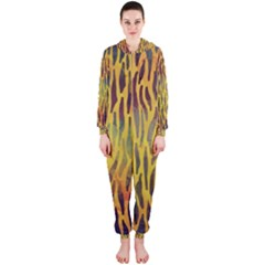 Colored Tiger Texture Background Hooded Jumpsuit (Ladies)