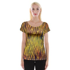 Colored Tiger Texture Background Women s Cap Sleeve Top