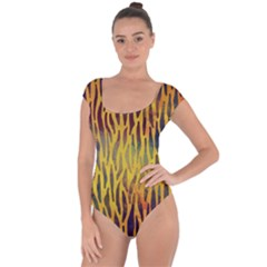 Colored Tiger Texture Background Short Sleeve Leotard (Ladies)