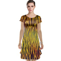 Colored Tiger Texture Background Cap Sleeve Nightdress
