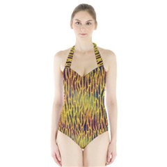 Colored Tiger Texture Background Women s Halter One Piece Swimsuit