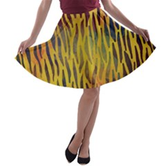 Colored Tiger Texture Background A Line Skater Skirt