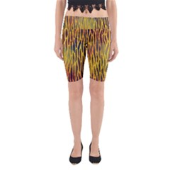 Colored Tiger Texture Background Yoga Cropped Leggings