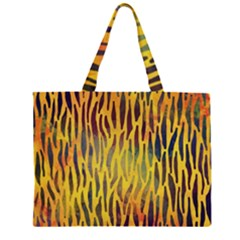 Colored Tiger Texture Background Large Tote Bag