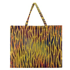 Colored Tiger Texture Background Zipper Large Tote Bag
