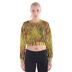 Colored Tiger Texture Background Women s Cropped Sweatshirt