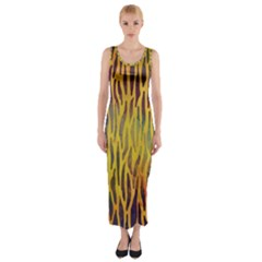 Colored Tiger Texture Background Fitted Maxi Dress