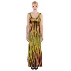 Colored Tiger Texture Background Maxi Thigh Split Dress