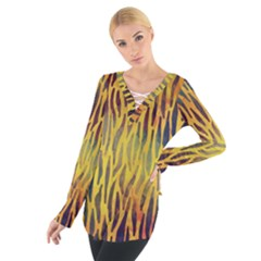 Colored Tiger Texture Background Women s Tie Up Tee