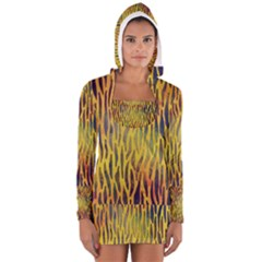 Colored Tiger Texture Background Women s Long Sleeve Hooded T-shirt
