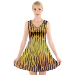Colored Tiger Texture Background V-Neck Sleeveless Skater Dress
