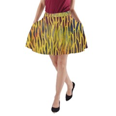 Colored Tiger Texture Background A-Line Pocket Skirt
