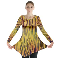 Colored Tiger Texture Background Long Sleeve Tunic