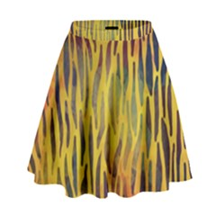 Colored Tiger Texture Background High Waist Skirt