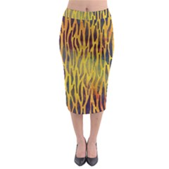 Colored Tiger Texture Background Midi Pencil Skirt