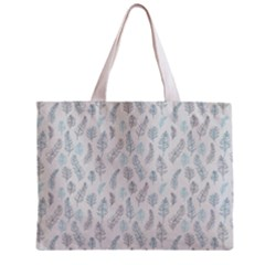 Turquoise Damask Pattern Zipper Mini Tote Bag