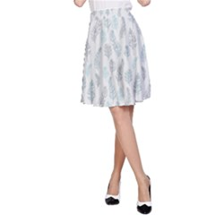 Whimsical Feather Pattern, Dusk Blue A Line Skirt