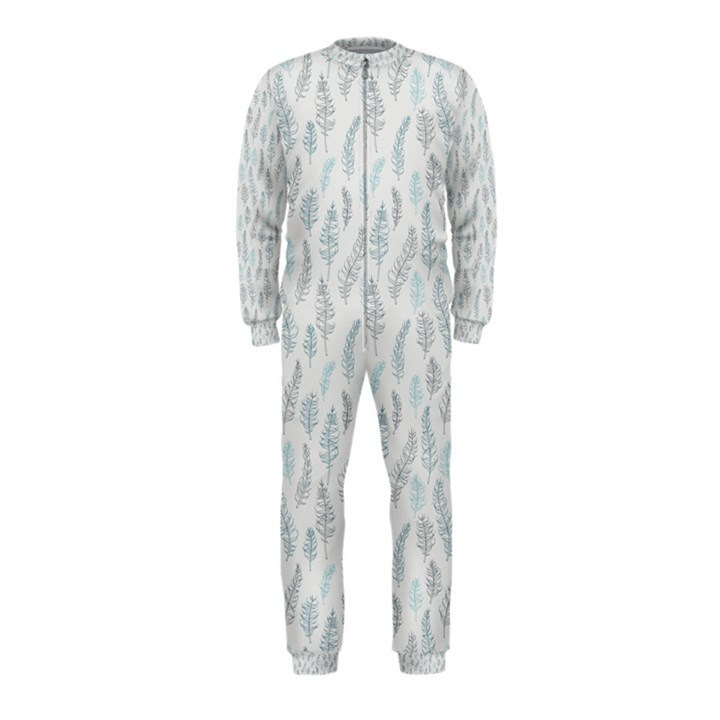 Whimsical Feather Pattern, Dusk Blue OnePiece Jumpsuit (Kids)