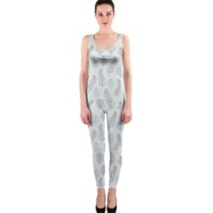 Whimsical Feather Pattern, Dusk Blue OnePiece Catsuit