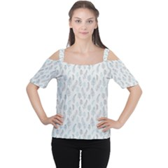 Whimsical Feather Pattern, Dusk Blue Women s Cutout Shoulder Tee