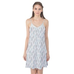 Whimsical Feather Pattern, Dusk Blue Camis Nightgown