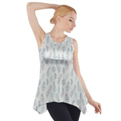 Whimsical Feather Pattern, Dusk Blue Side Drop Tank Tunic