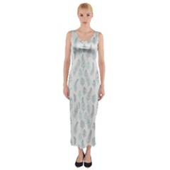 Whimsical Feather Pattern, Dusk Blue Fitted Maxi Dress