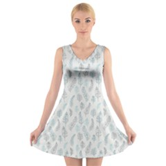 Whimsical Feather Pattern, Dusk Blue V Neck Sleeveless Skater Dress