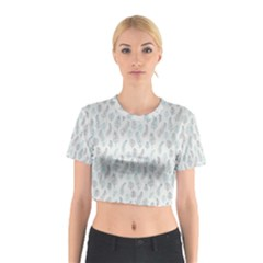 Whimsical Feather Pattern, Dusk Blue Cotton Crop Top