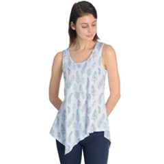 Whimsical Feather Pattern, Dusk Blue Sleeveless Tunic