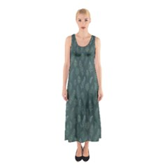 Whimsical Feather Pattern, Forest Green Sleeveless Maxi Dress