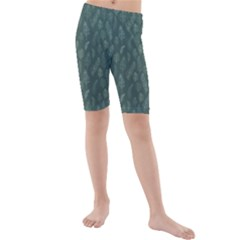 Whimsical Feather Pattern, Forest Green Kid s Mid Length Swim Shorts
