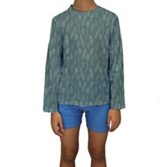 Whimsical Feather Pattern, Forest Green Kid s Long Sleeve Swimwear