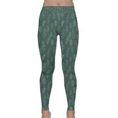 Whimsical Feather Pattern, Forest Green Yoga Leggings