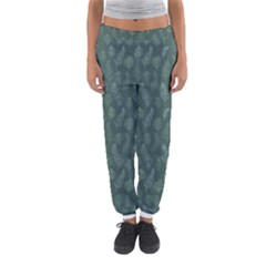 Whimsical Feather Pattern, Forest Green Women s Jogger Sweatpants