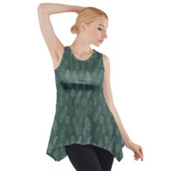 Whimsical Feather Pattern, Forest Green Side Drop Tank Tunic