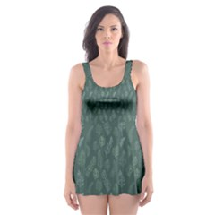 Whimsical Feather Pattern, Forest Green Skater Dress Swimsuit