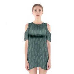 Whimsical Feather Pattern, Forest Green Cutout Shoulder Dress