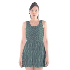 Whimsical Feather Pattern, Forest Green Scoop Neck Skater Dress