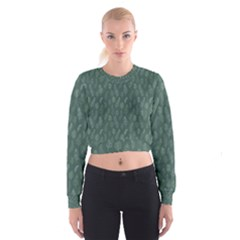 Whimsical Feather Pattern, Forest Green Women s Cropped Sweatshirt