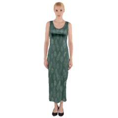 Whimsical Feather Pattern, Forest Green Fitted Maxi Dress