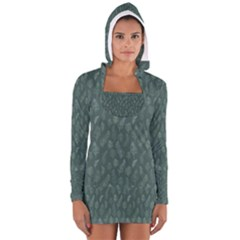 Whimsical Feather Pattern, Forest Green Women s Long Sleeve Hooded T-shirt