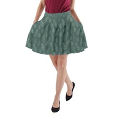 Whimsical Feather Pattern, Forest Green A-Line Pocket Skirt