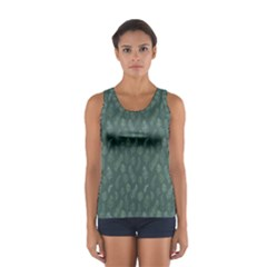Whimsical Feather Pattern, Forest Green Tops