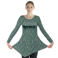 Whimsical Feather Pattern, Forest Green Long Sleeve Tunic