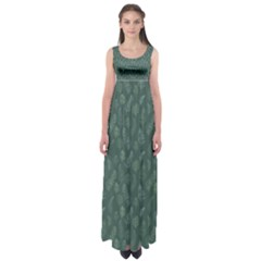 Whimsical Feather Pattern, Forest Green Empire Waist Maxi Dress