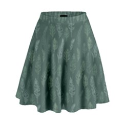 Whimsical Feather Pattern, Forest Green High Waist Skirt